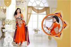 Jacqueline Orange Designer Unstitched Suit   Fabric : Pure Georgette Work : Embroidery Handcrafted work Color : As per photo Perfect Collection for Occasion: party wear, festival, wedding