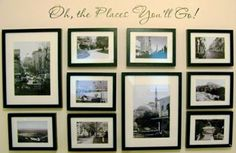 travel themed gallery wall vacation picture framing (... and, wouldn't it be nice if you could change out the photos -- and store them in back?)