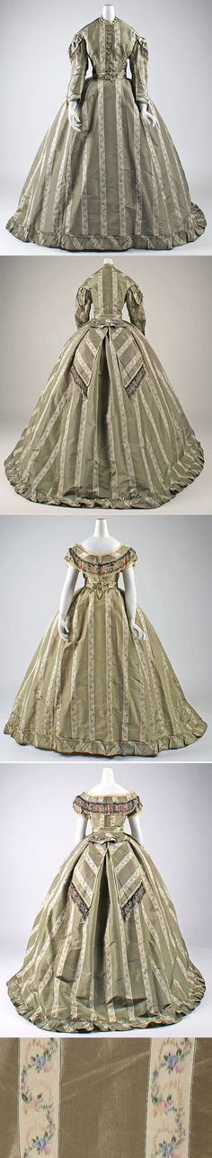 Metropolitan Museum of Art British taupe brown striped silk dress with day and evening bodices, circa 1865.