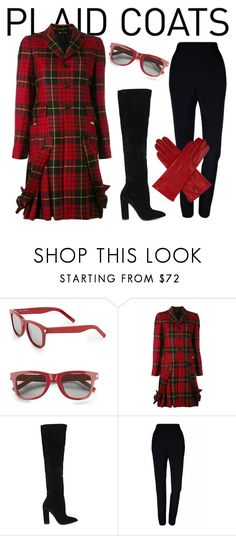 """Plaid Coat"" by scottishfiddlerfromengland ❤ liked on Polyvore featuring Yves Saint Laurent, Comme des Garçons, ALDO, Plakinger and Dents"