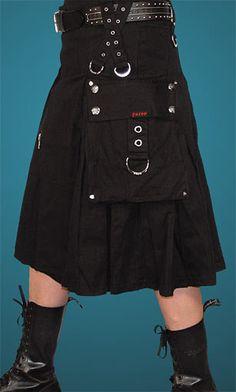 Mens Black Cargo Pocket Utility Kilt by Tripp NYC... ?? I like it!