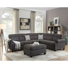 Poundex 2 Pc Dorris Collection Ash Black Fabric Upholstered Reversible Sectional Sofa With Rounded Arms This Set Includes The Piece Only