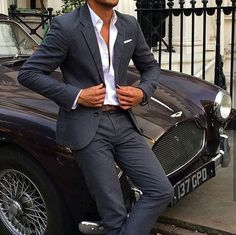 A classic suit and a classic car.. Perfect Tag a couple of friends who like to…