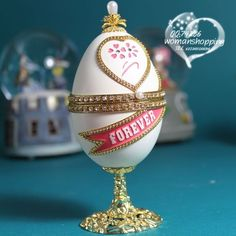 Forever white Faberge style Russian carved egg music box free shipping e24