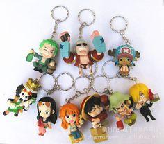One Piece keychain bundle Zoro Frank Luffy Brook Chopper Robin Nami Sanji Anime key ring holder
