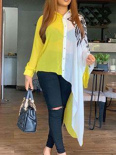Simple Fashion Tips Ericdress Asymmetric Lapel Color Block Patchwork Long Blouse.Simple Fashion Tips Ericdress Asymmetric Lapel Color Block Patchwork Long Blouse Stylish Dress Designs, Stylish Dresses, Casual Dresses, Ladies Dresses, Blouse Styles, Blouse Designs, Neckline Designs, Look Fashion, Fashion Outfits