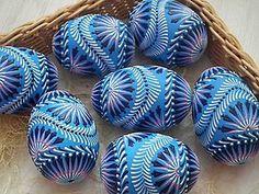 Dekorácie - modré maľované kraslice - 6437035_