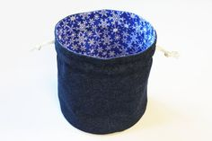 Denim & White Snowflakes Bright Blue Bucket by HandiworkinGirls