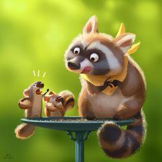 Bird Feeder by Lynn Chen. Drawing Cartoon Characters, Character Drawing, Cartoon Drawings, Cartoon Illustrations, Art And Illustration, Character Illustration, Cartoon Kunst, Cartoon Art, Animal Sketches