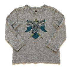 Girls 5 Tea Collection Gray Long Sleeved Shirt w/ Blue Peacock Bird Graphic   | eBay