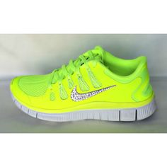 9a07514c47 Nike Free Run 5.0 shoes Volt Grey Summit White with Swarovski crystal  details Running