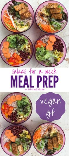 Meal Prep Ideas Vegan Salads for 1 week - Around an hour of work and you have a week's worth of healthy salads ready - vegan and gluten free too! Get all the necessary resources in this post.