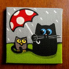 2 x 2 inch Mini Canvas Panel original painting  Black by bcgem, $6.00