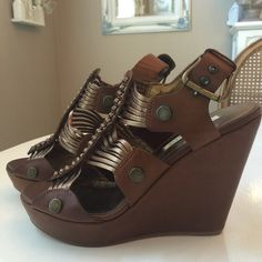 """HP Cynthia Vincent Platform Sandals Beautiful Cynthia Vincent sandal! This style was her most popular & sold out! 4.5"""" heel with 1"""" platform. Worn one time. 7.5 runs small & would best fit Size 7! Cynthia Vincent Shoes Sandals"""