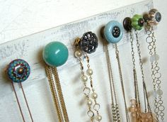 Necklace Rack Beautiful Blues and Greens Wall by sweetsadiek, $36.50