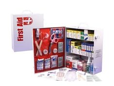 This 3 Shelf First Aid Cabinet was designed by leaders in the Emergency Preparedness Industry. This kit contains 1,044 pieces that are packaged neatly into a white steel case that can be mounted on a wall for easy access.