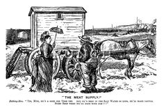 """""""The Meat Supply."""" Bathing-Man. """"Yes, Mum, he's a good old 'orse yet. And he's been in the salt water so long, he'll make capital biled beef when we're done with him!!!"""" - Punch magazine cartoon by Charles Keene, 1876."""
