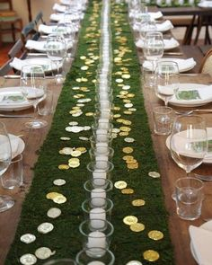 Hosting a St. Patrick's Day party?  Here's an idea for your table centerpiece!  We sell Moss Table Runners- simply roll one out down the center of your table and embellish with gold coins and candles.  Order now to be ready for the holiday!⁣⁣ #stpaddysday #dinnerparty #dinnerpartydecor⁣⁣ #tablescape #springdecor #stpatricksday #homedecor #tablesetting