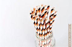 orange and black striped straws