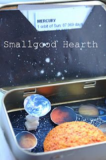 A tiny solar system in an altoid tin.  Could do a similar tiny, hands-on, mobile bit of learning on any subject.  From Smallgood Hearth.