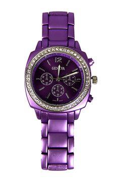 Metal, Purple Watch with Rhinestone Bezel