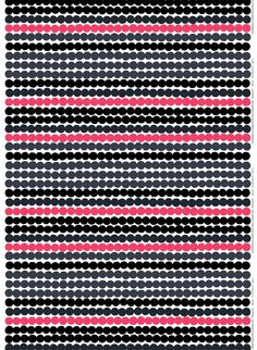 Made of heavyweight cotton, this Räsymatto print designed by Maija Louekari was inspired by traditional woven Finnish rugs. This version features hits of pink and gray with the classic black and white.