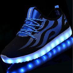 9eed557727b   39.99  Unisexo Sapatos Arrastão   Tule Outono   Inverno Tênis com LED  Tênis Salto Baixo Ponta Redonda LED Branco   Preto   Azul e preto