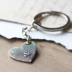 INKED FINGERPRINT HEART PENDANT- A lovely combination - our new INKED FingerPrint Heart Pendant with your loved ones' unique print & our gorgeous Sterling Silver split-ring keyring.