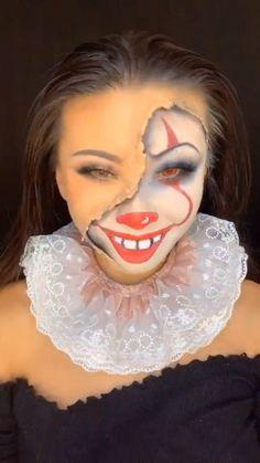 Halloween Games, Halloween Art, Halloween Makeup, Natural Makeup, Natural Beauty, Half Face Makeup, Clown Makeup, Makeup Routine, Carnival