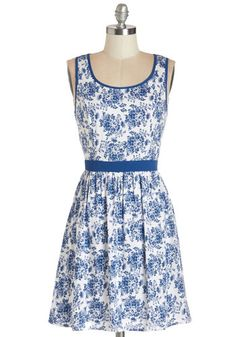 Ready, Willing, and Fable Dress - Blue, Floral, Buttons, Cutout, Daytime Party, A-line, Sleeveless, Summer, Woven, Good, Scoop, Mid-length, ...