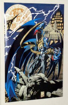 Rare vintage original 1994 Azrael as the New Batman DC Comics Dark Knight poster 1: Joe Quesada art, Knightfall and Knightsend comic book superhero pin-up!