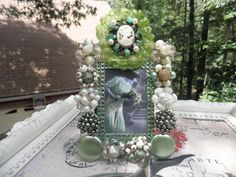 Cameo Green Lace Vintage Jeweled Picture Frame by MyInnerPrincess, $39.95