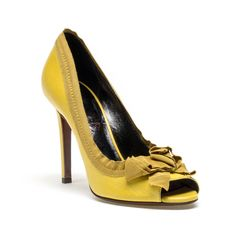 Lanvin Peep Toe Timeless Pump ($477) ❤ liked on Polyvore featuring shoes, pumps, yellow, heels, yellow peep toe shoes, lanvin shoes, yellow heel shoes, peeptoe shoes and peep-toe pumps