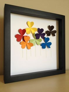READY TO SHIP SALE, BUY IT TODAY I WILL SHIP TOMORROW These lovely and colorful flowers will look simply perfect in your home or little girls room. Whether to celebrate a love for flowers or to add that personal touch, treat yourself or someone you love with this unique artwork.   Each Paper Line piece comes framed in a contemporary black shadow box frame measuring 8x8 inches. (please note that these photographs are taken without the frames glass to reduce glare)