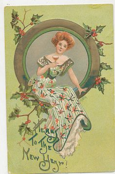 B3986 1909 POSTCARD NEW YEARS GREETING VICTORIAN STYLE LADY L&E SER 2275
