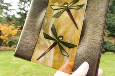Amber Gold Dragonfly Decorative Plate Fused Glass by ModMixArt
