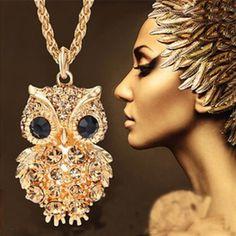 New Brand Design High Quality Retro Charm Crystal Gem Cubic Zircon Diamond 18K Gold Owl Long Chain Necklaces&Pendants A324