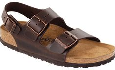 Shop Milano Soft Footbed Brown Amalfi Leather  Sandals