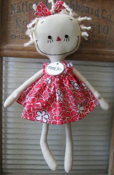 handmade cloth rag doll blond Gracie in Red by SugarAndSpice
