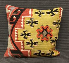 Vintage Kilim Pillows. Handmade Turkish Pillow Traditional Pillow. Turkish Rug Pillow 40 x 40  Pefect Choice For Home Decor. Turkish Bedding by TurkishBohoChic on Etsy