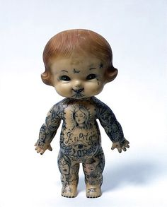 tattooed kewpie doll by Dr Lakra Collage Techniques, Baby Tattoos, Dark Photography, Creepy Dolls, Cultura Pop, Doll Face, Cartoon Drawings, Beautiful Creatures, Altered Art