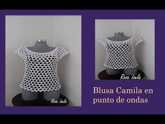 YouTube Crochet Blouse, Crochet Top, Blouse Models, Crochet Videos, Polka Dot Top, Boho Fashion, Diy And Crafts, Crop Tops, Knitting