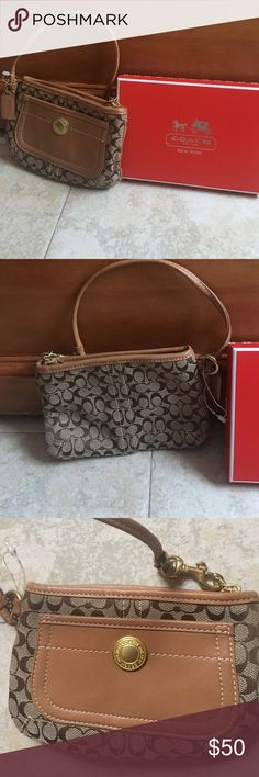 NEW!!! Authentic Coach Brown Wristlet COACH Brown Wristlet with leather pocket and strap.  NEW no tag, just the Box.  Please refer to pics. Coach Bags Clutches & Wristlets