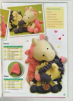 Pegaso Crochet Pony, Love Crochet, Learn To Crochet, Crochet Flowers, Knit Crochet, Crochet Doll Pattern, Crochet Patterns Amigurumi, Amigurumi Doll, Crochet Dolls