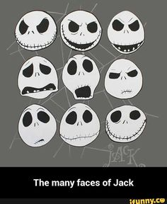 The Nightmare Before Christmas Many Faces of Jack T-Shirt . Diy Deco Halloween, Happy Halloween, Halloween Witches, Halloween Decorations, Jack Skeleton Tattoo, Nightmare Before Christmas Drawings, Jack Skellington Faces, Tim Burton Style, Jack And Sally