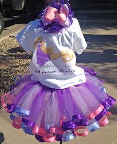 RapunzelTangled Satin Ribbon Edged Tutu Set by preciousbabygifts, $60.00