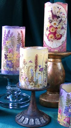 Flameless Candles with the Pressed Flower Art
