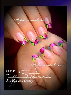 Pinned by www.SimpleNailArtTips.com INTERMEDIATE NAIL ART DESIGN IDEAS - Stained glass nail art french manicure