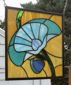 Art Deco Poppy 11' X 12Stained Glass Window by StainedGlassArtist