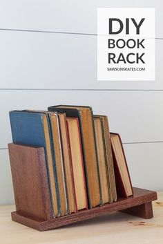 Are your books scattered across your desk? Get them organized with this DIY book rack. This is a quick, cheap, and easy project that's great for beginners. It's made with 3 common tools, a few pieces of scrap wood, and 4 of screws. Woodworking Tools For Beginners, Woodworking Skills, Woodworking Plans, Diy Books Rack, Book Racks, Wooden Book Stand, Wooden Books, Easy Projects, Wood Projects